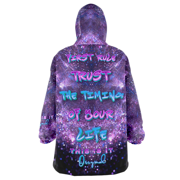 First Rule Trust the Timing of Your Life Violet Space & Stars Design XXL Oversized Snug Hoodie