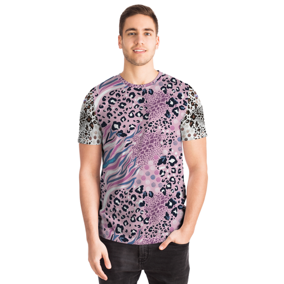 Pink Art Leopard Style With White Design T-shirt