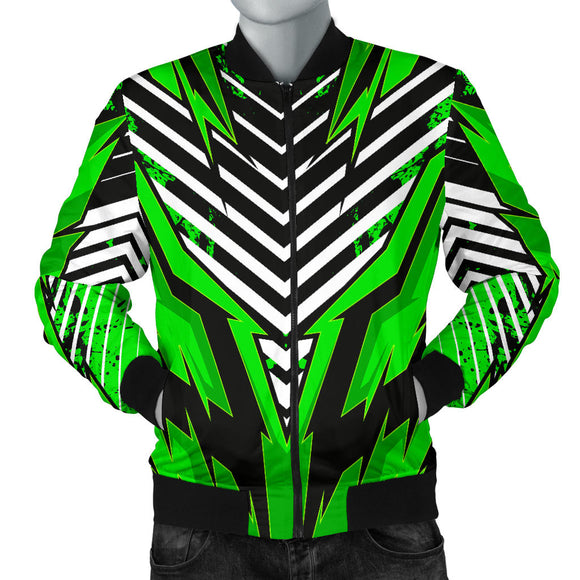 Racing Style Funky Green & Black Vibes Men's Bomber Jacket