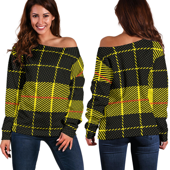 Yellow Tartan Passion Women's Off Shoulder Sweater