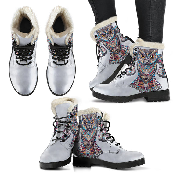 Free Spirit Of Owl Faux Fur Leather Boots