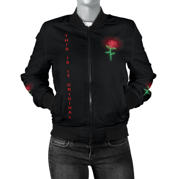 Women's Bomber Jacket Perfect Neon Rose Design & Broken People