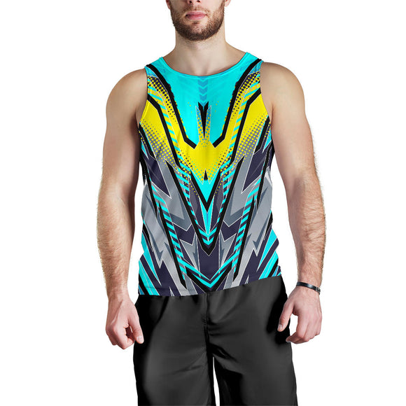 Racing Style Light Blue & Yellow Men's Tank Top