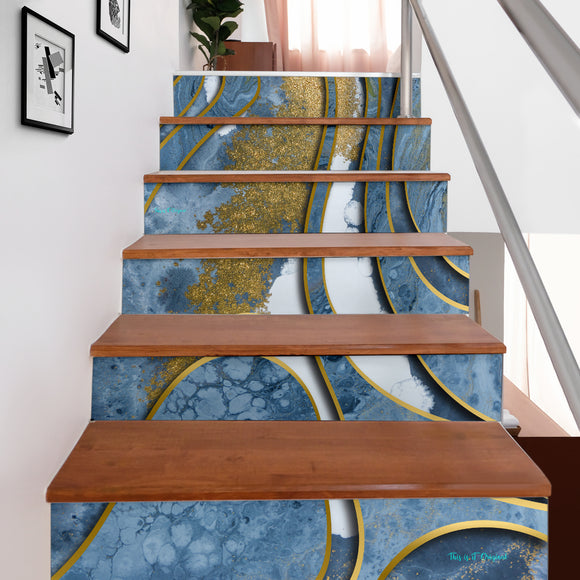 Luxury Grey & Gold Marble Design Art Stair Stickers (Set of 6)