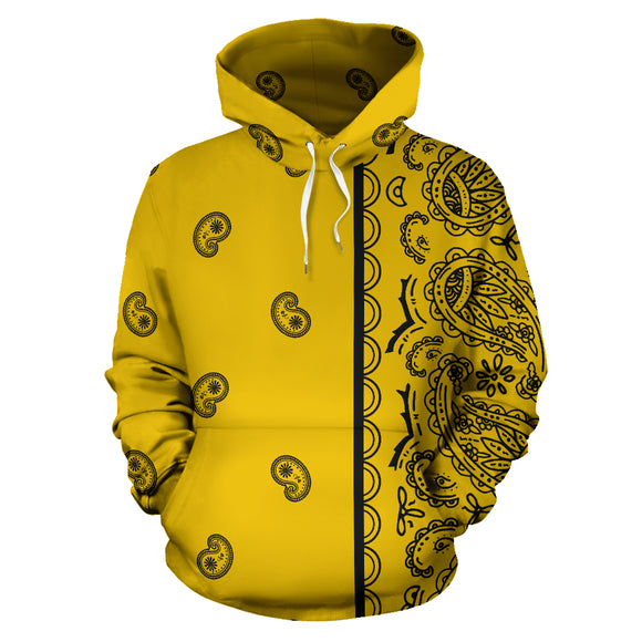 Yellow and Black Asymmetrical Bandana Style All Over Hoodie