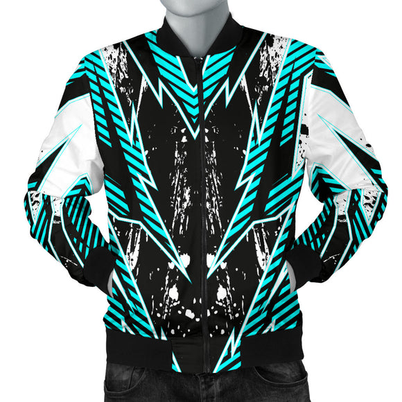 Racing Style Ice Blue & Black Vibes Men's Bomber Jacket