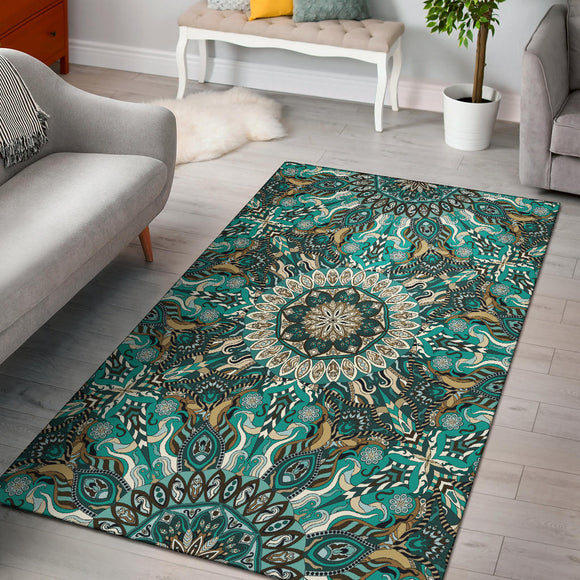 Ornamental Magical Green Dream Area Rug