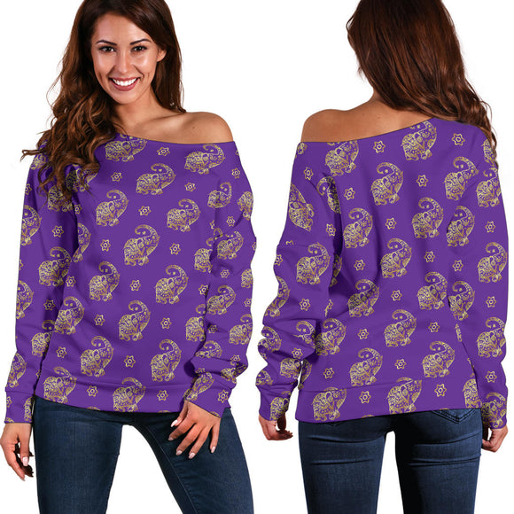 Lucky Purple Elephant Women's Off Shoulder Sweater