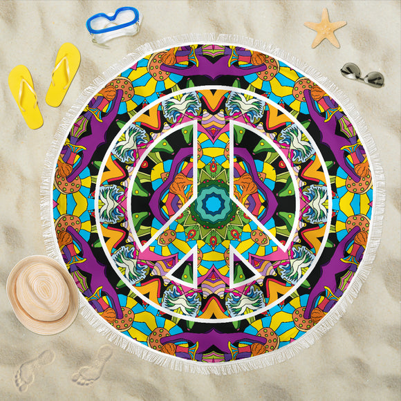 Hippie Peace Mandala Beach Blanket