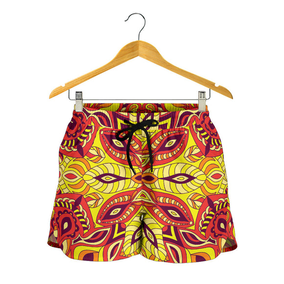 Red Sunny Mandala Women's Shorts