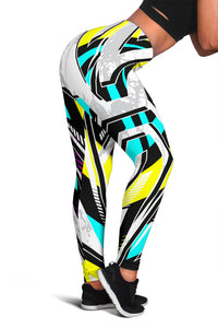 Racing Style Ice White & Pastel Colorful Vibes Women's Leggings