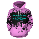 Luxury Pink design Style Hoodie with Quote by Genres. You are perfect