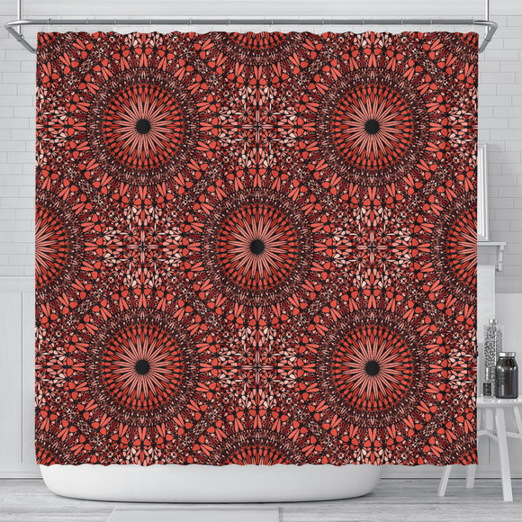 Red Spiritual Mandala Shower Curtain