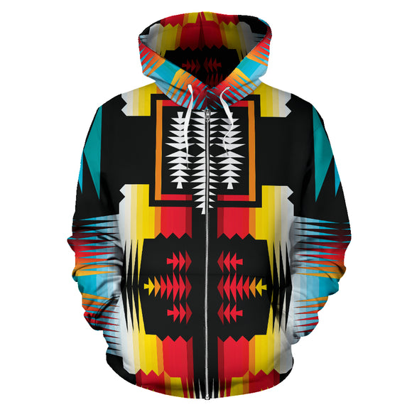 Abstract Fire And Turquoise Nature Zip Hoodie