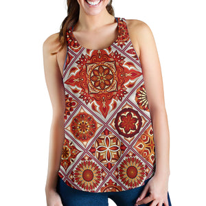 Fire Red Mosaic Mandala Design Women's Racerback Tank
