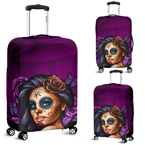 Violet Skull Luggage Cover