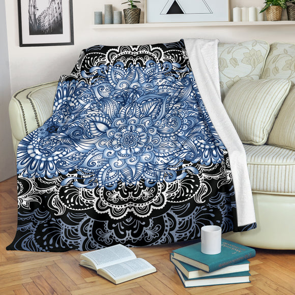 Blue Lotus On Black Sunset Premium Blanket