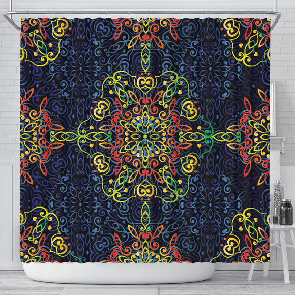 Glowing Rasta Mandala Shower Curtain