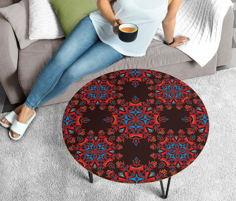 Red Ethnic Love Circular Coffee Table