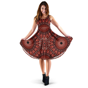 Red Spiritual Mandala Women's Dress