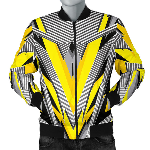 Racing Style Black & Yellow Stripes Vibes Men's Bomber Jacket