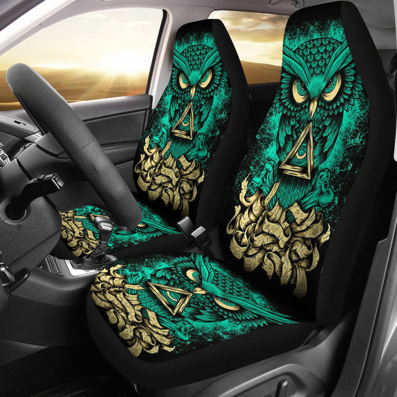Green Luxury Owl Car Seat Cover
