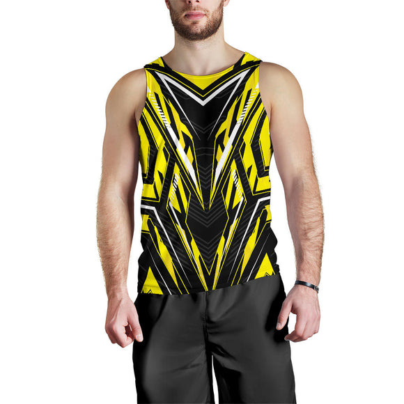 Racing Style Yellow & Black Men's Tank Top
