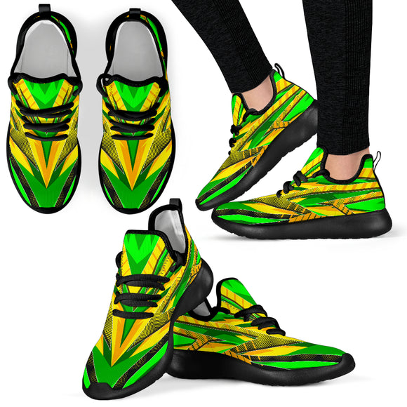 Racing Brazil Style Yellow & Green Colorful Vibe Mesh Knit Sneakers
