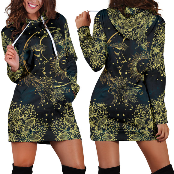 Golden Sun And Moon Women's Hoodie Dress