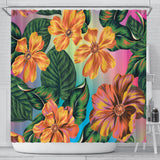 Orange Flowers Shower Curtain