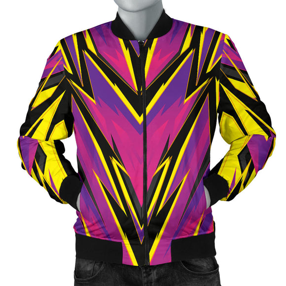 Racing Style Purple & Yellow Colorful Vibe Men's Bomber Jacket