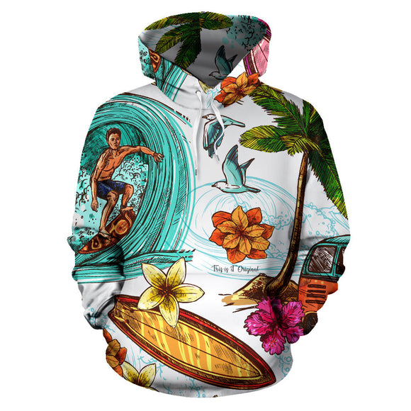 Cool Surfer On The Wave All Over Hoodie