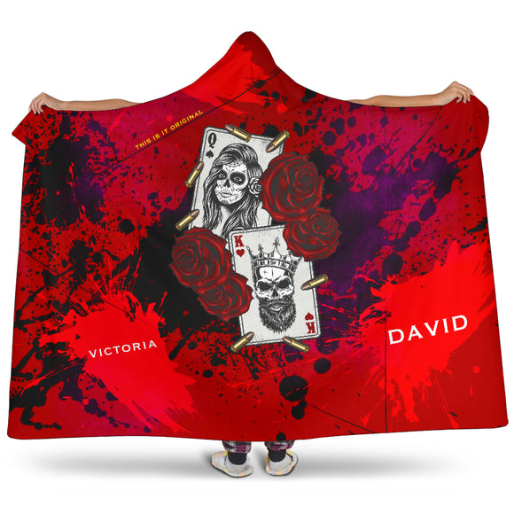 Customised name King & Queen Wild Red Design Hooded Blanket