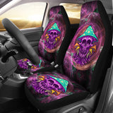 Rave Psychedelic Design With Violet Skull & Mushrooms Car Seat Cover
