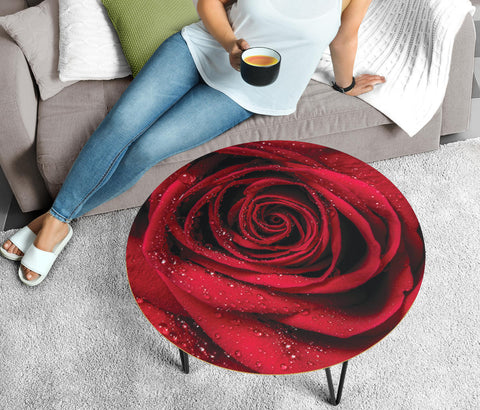 Lovely Red Rose Circular Coffee Table
