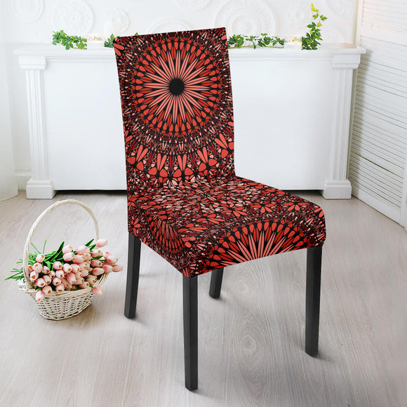 Red Spiritual Mandala Dining Chair Slip Cover