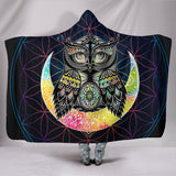 Colorful Lovely Beautiful Owl Premium Hooded Blanket