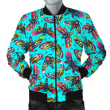 Neon Light Blue With HawkMoth Style Men's Bomber Jacket