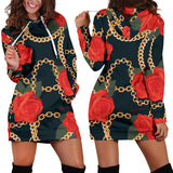 Dark Style Roses & Gold Chains Women's Hoodie Dress