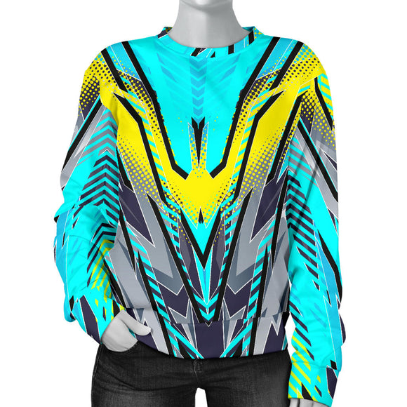 Racing Style Light Blue & Grey Colorful Vibe Women's Sweater