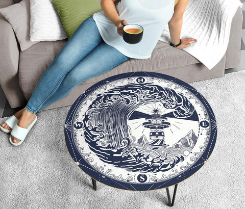 Blue Lighthouse Circular Coffee Table