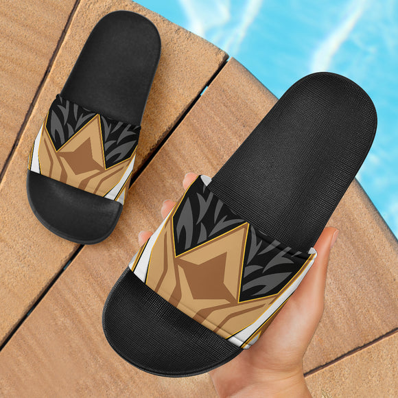 Racing Style Brown & Black Slide Sandals