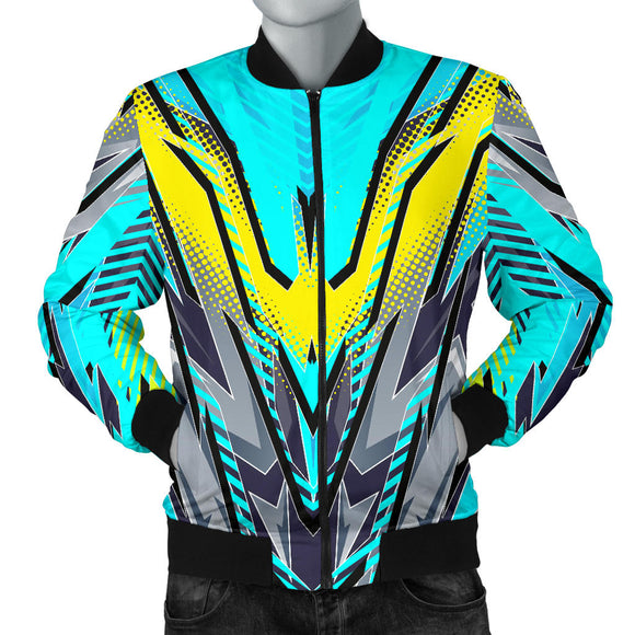 Racing Style Ocean Blue & Yellow & Grey Colorful Vibe Men's Bomber Jacket