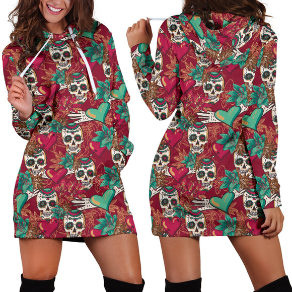 Red & Green Heart Skull Women's Hoodie Dress