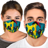 Light Blue & Yellow Bubble Art Design Premium Protection Face Mask