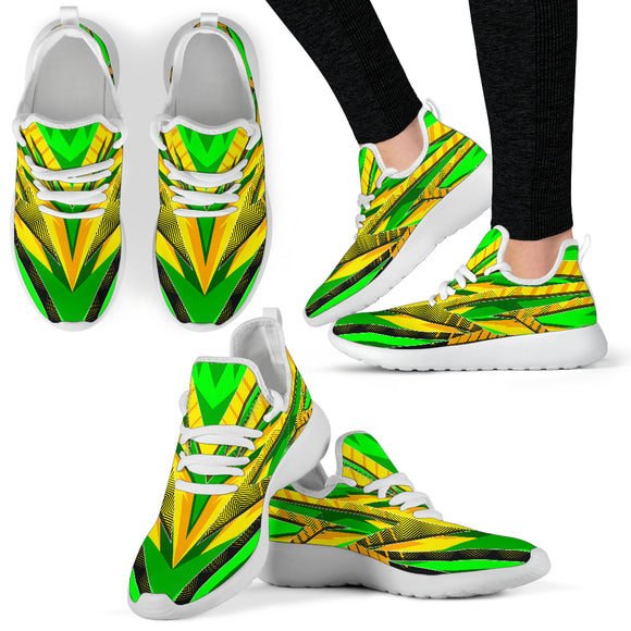 Racing Brazil Style Yellow & Green 2 Colorful Vibe Mesh Knit Sneakers
