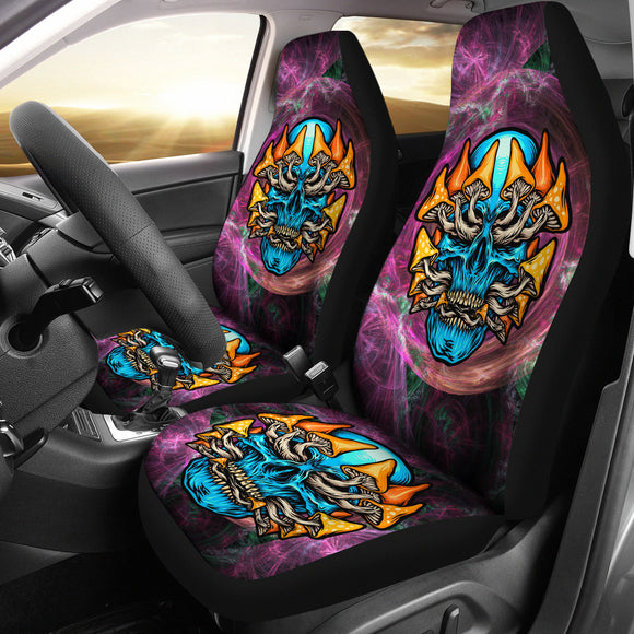 Rave Psychedelic Design With Light Blue Skull & Mushrooms Car Seat Cover