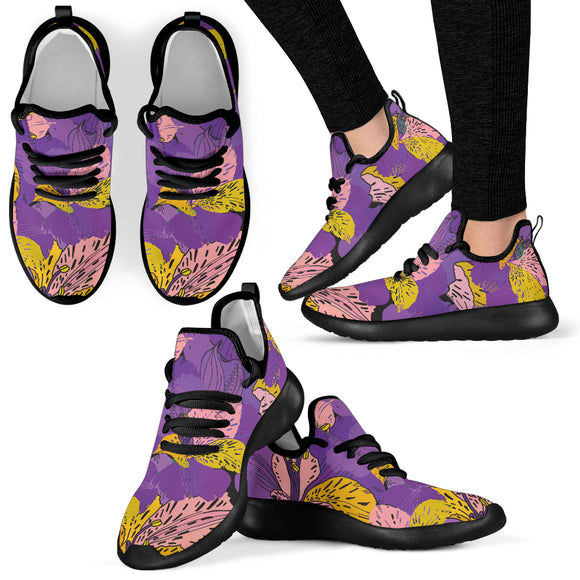 Flowery Violet Dream Mesh Knit Sneakers