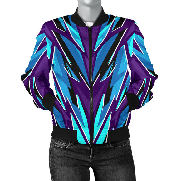Racing Style Ice Blue & Violet Vibes Women's Bomber Jacket