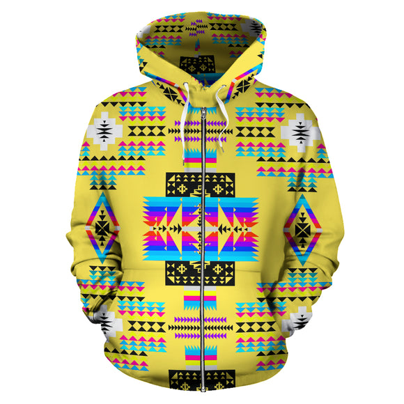 Yellow Ornamental Seven Tribes Canyon River Zip Hoodie